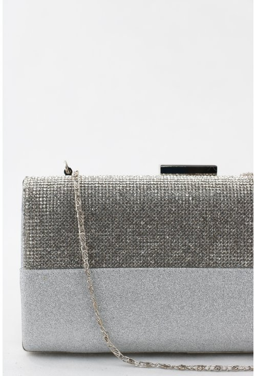Clutch argintiu elegant cu strasuri