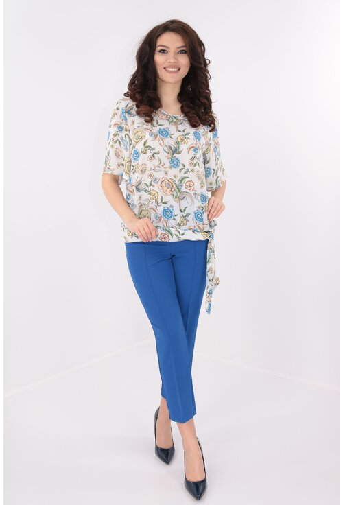 Costum elegant albastru format din bluza si pantaloni