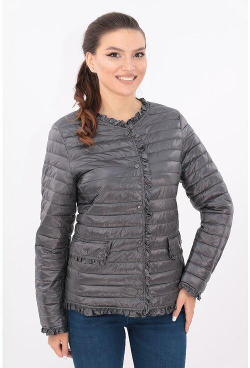 Jacheta antracit din fas matlasat cu volanase