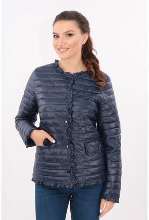 Jacheta bleumarin din fas matlasat cu volanase