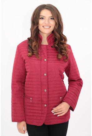 Jacheta bordo de fas matlasata cu guler tunica