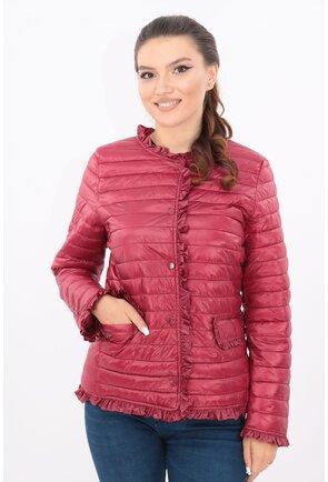 Jacheta bordo din fas matlasat cu volanase