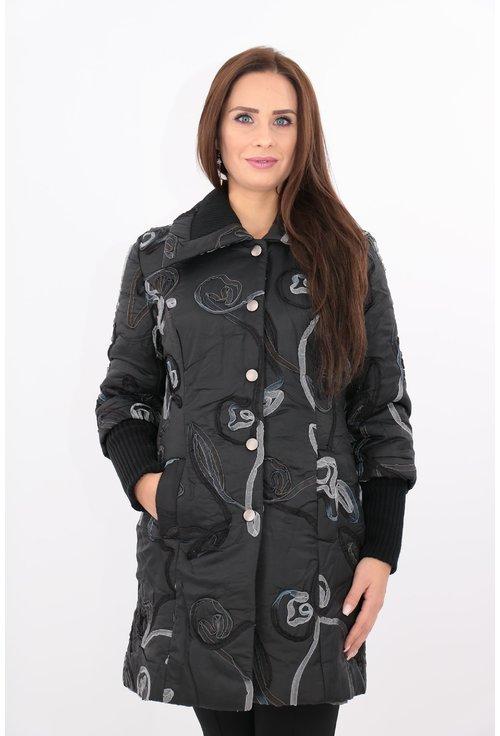 Jacheta matlasata din fâș cu model din panglica gri