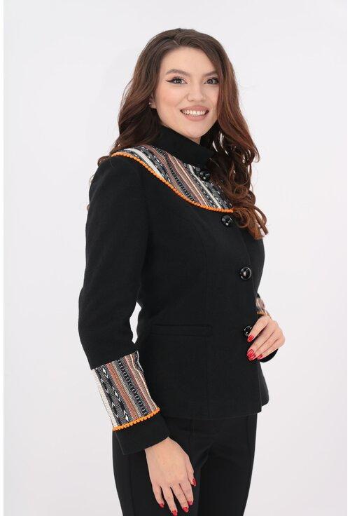 Jacheta neagra din stofa cu lana si motive traditionale orange