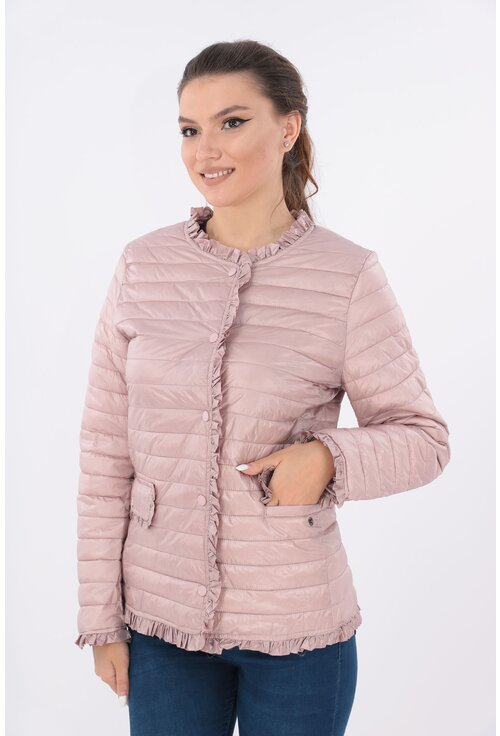 Jacheta roz din fas matlasat cu volanase