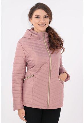 Jacheta roz prafuit cu gluga si fermoar auriu