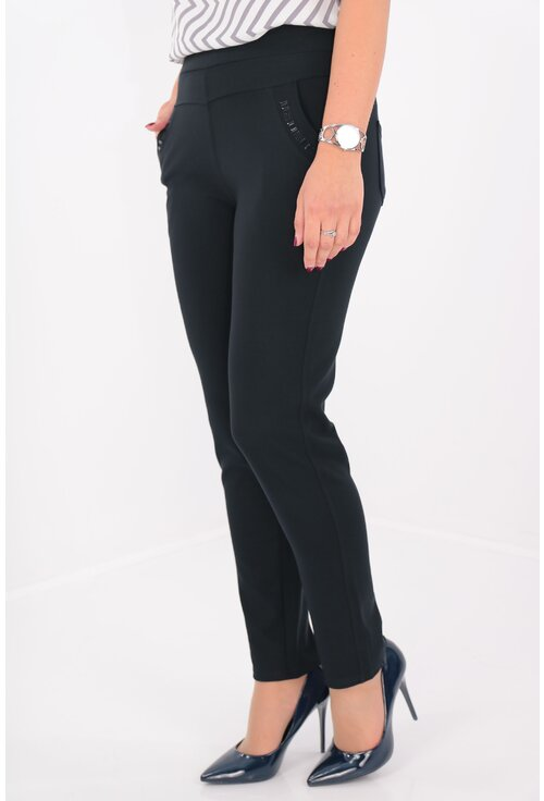 Pantaloni bleumarin cu buzunare si strasuri