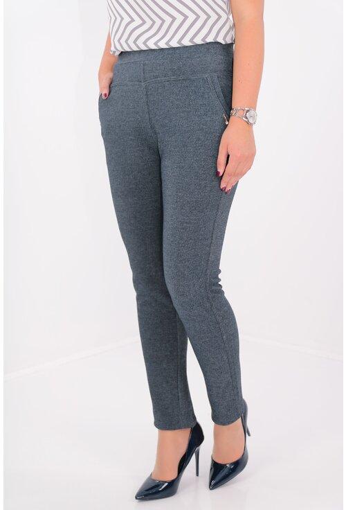 Pantaloni bleumarin pepit cu buzunare