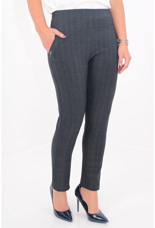 Pantaloni conici bleumarin cu carouri fine negre
