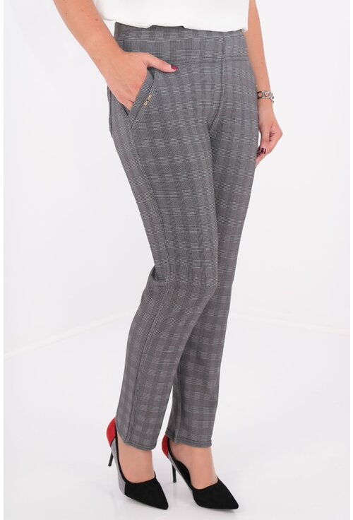 Pantaloni conici gri cu carouri fine negre