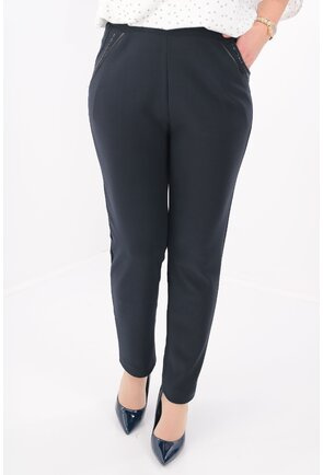 Pantaloni conici office bleumarin