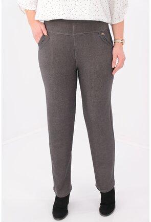 Pantaloni gri flausati cu carouri fine