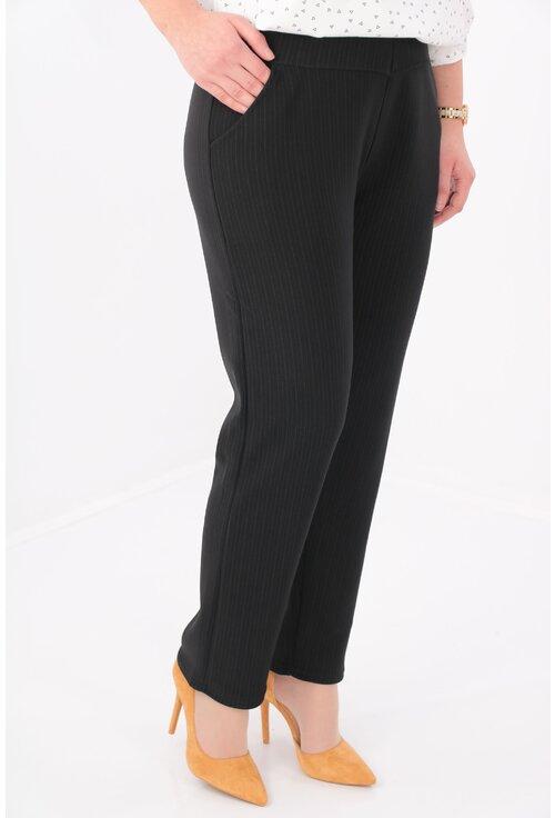 Pantaloni negri flausati cu imprimeu discret cu dungi