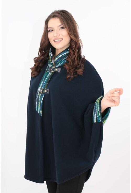 Poncho din stofa groasa bleumarin cu guler si mansete colorate