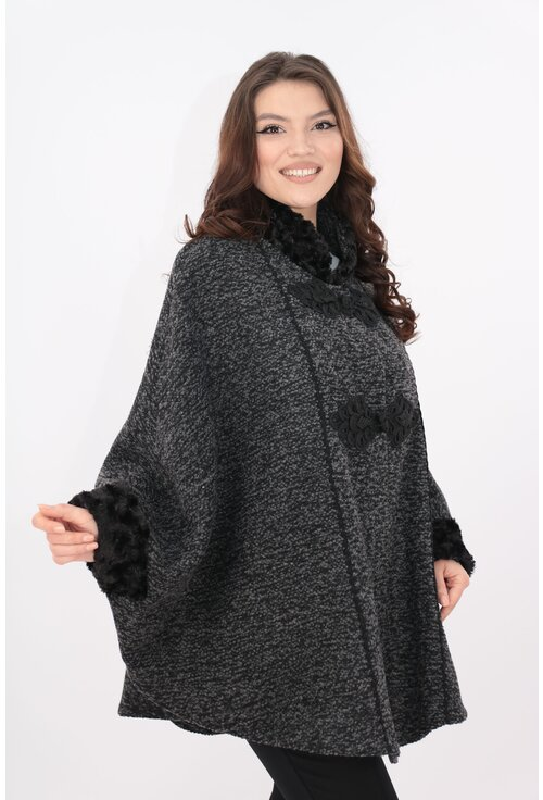 Poncho din stofa groasa bucle gri-negru