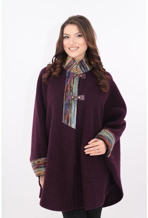 Poncho din stofa groasa violet cu guler si mansete colorate