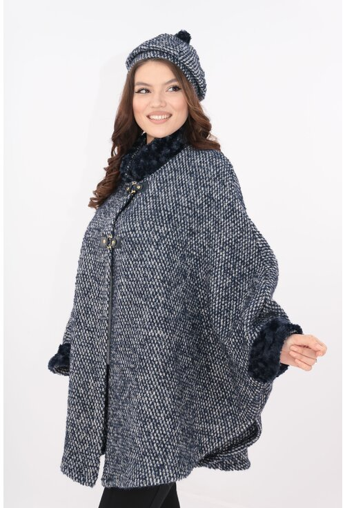 Poncho si bereta din stofa bucle pepit bleumarin cu alb