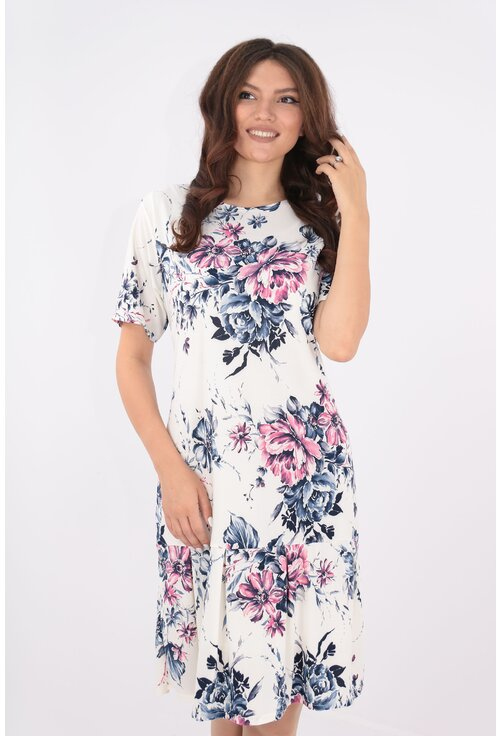 Rochie alba cu bujori roz-albastri