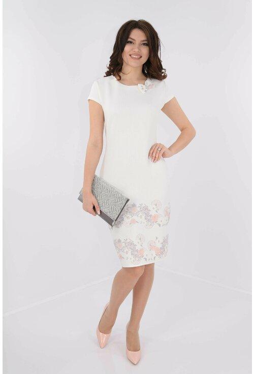 Rochie alba din brocard cu bordura