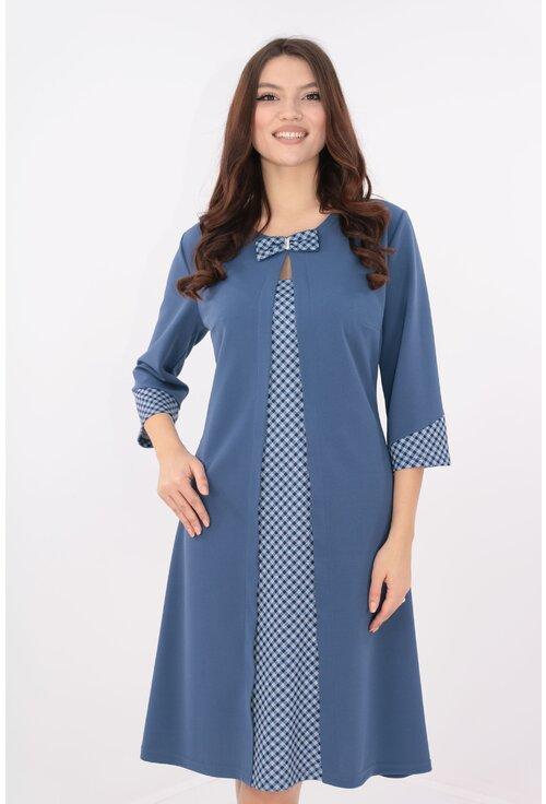 Rochie albastra cu carouri si aspect suprapus