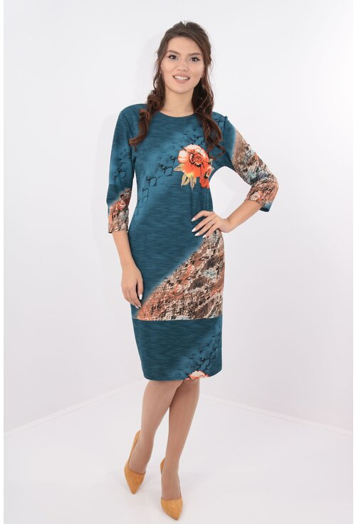 Rochie albastra cu desen floral orange