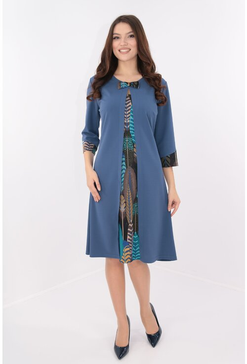 Rochie albastra cu insertii multicolore si aspect suprapus