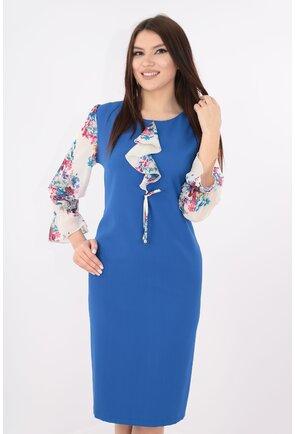Rochie albastra cu maneci din voal alb cu design floral