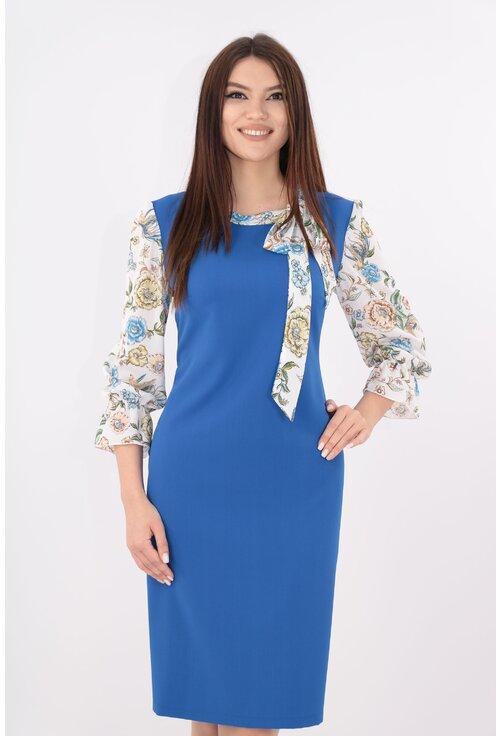Rochie albastra cu maneci si esarfa din voal alb
