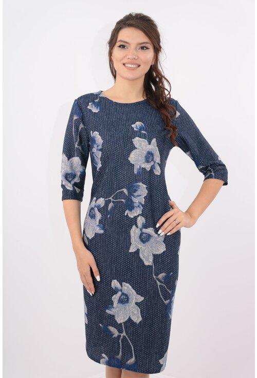 Rochie bleumarin cu desen floral maxi si buline mici