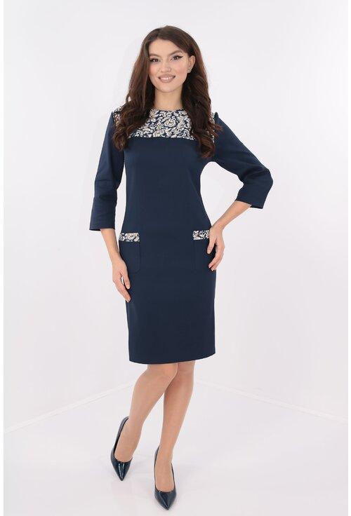 Rochie bleumarin cu garnituri florale crem
