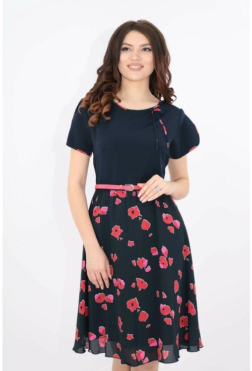 Rochie bleumarin cu print floral