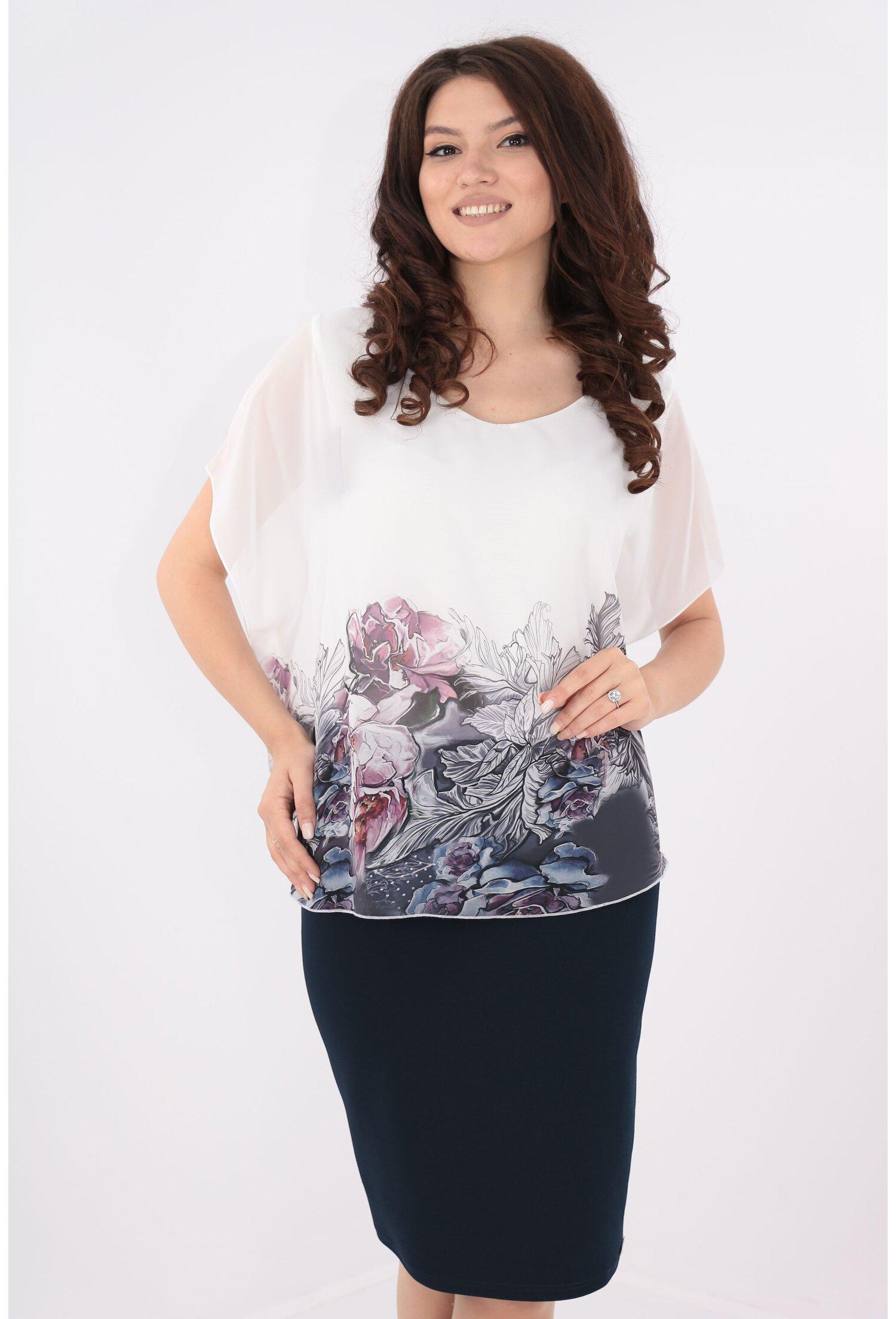 Rochie bleumarin cu voal alb cu bordura florala