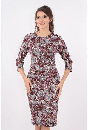 Rochie bordo cu imprimeu floral