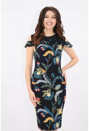 Rochie cambrata bleumarin cu print floral multicolor