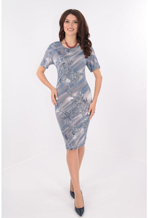 Rochie casual cu carouri mici gri si desen floral bleumarin