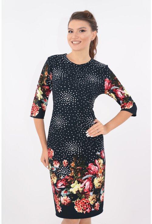 Rochie casual bleumarin cu bordura florala rosie