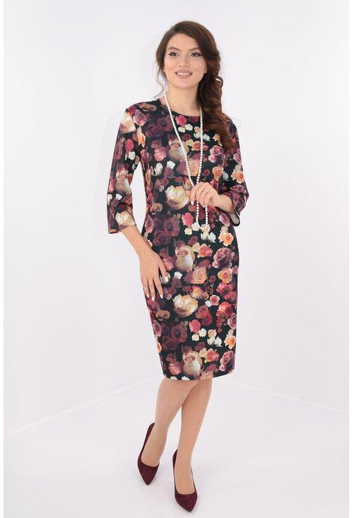 Rochie casual neagra cu print floral