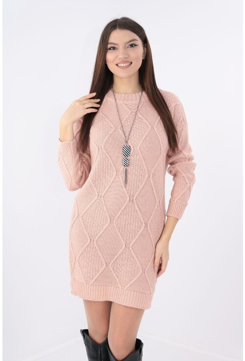 Rochie casual tricotata roz cu lantisor