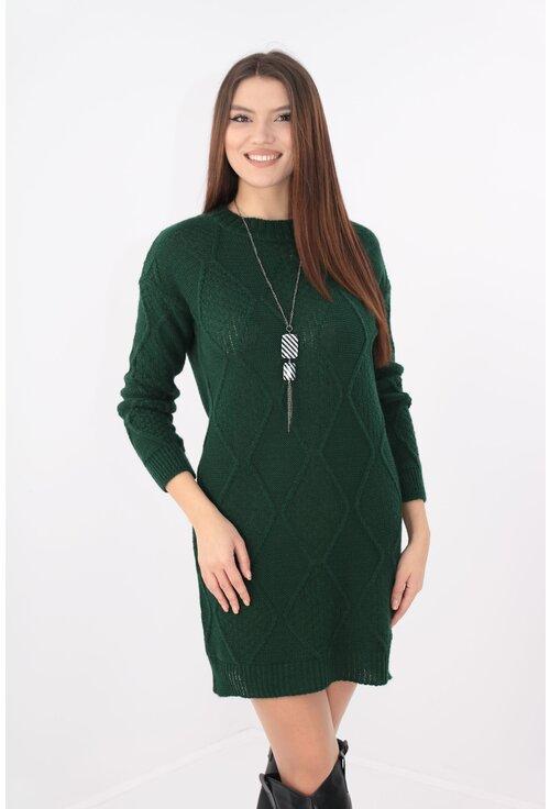 Rochie casual tricotata verde cu lantisor