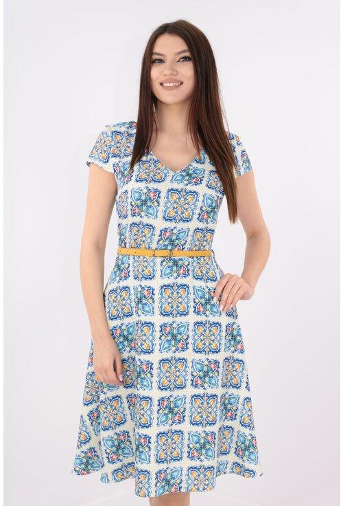 Rochie clos alba cu print albastru