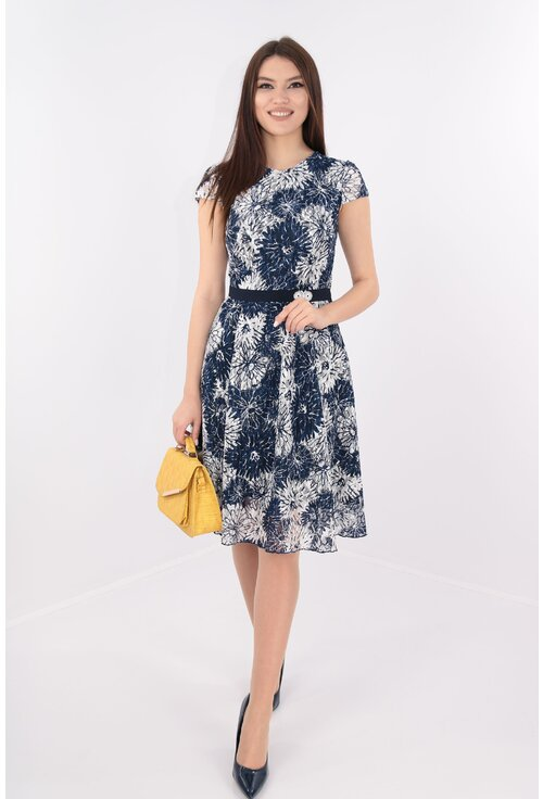 Rochie clos din dantela cu flori bleumarin