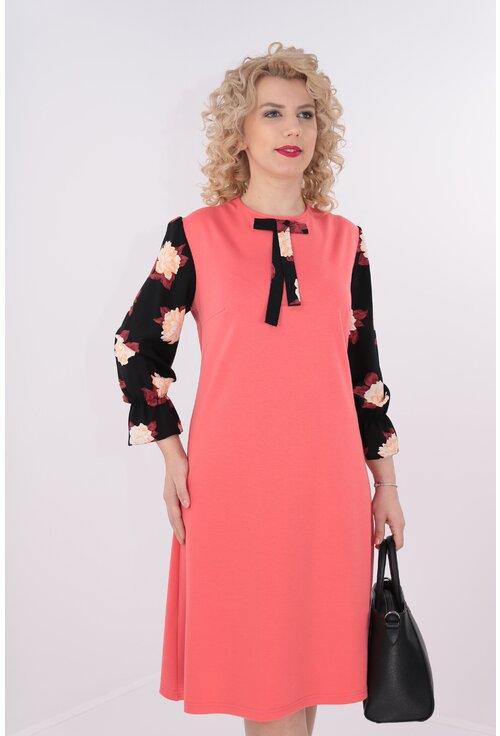 Rochie corai cu maneci cu print floral