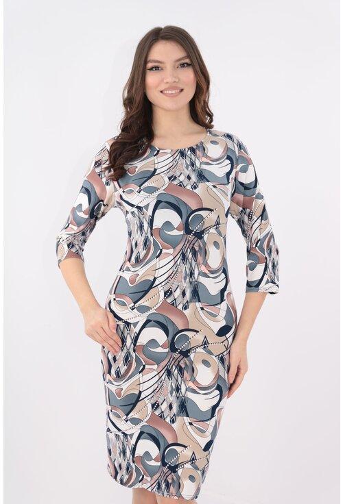 Rochie cu imprimeu abstract gri-bej