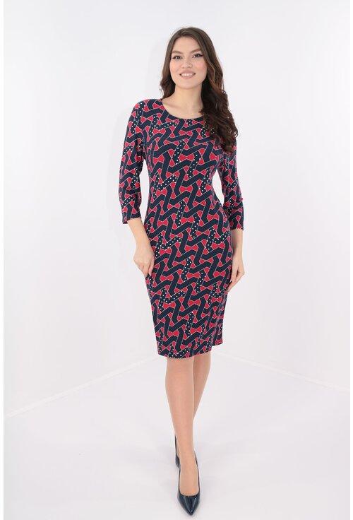 Rochie cu imprimeu abstract rosu-bleumarin