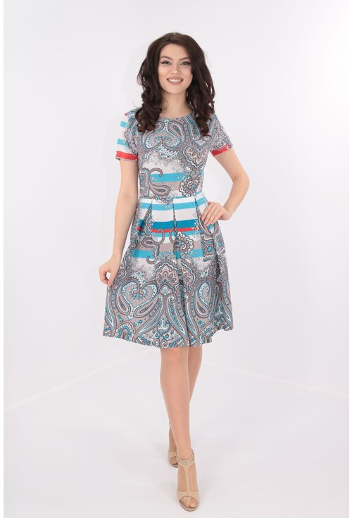 Rochie cu pliuri si bordura albastra