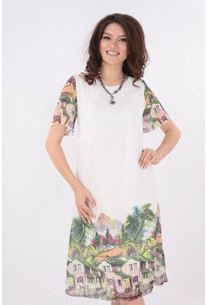 Rochie diafana din voal alb cu print bordurat