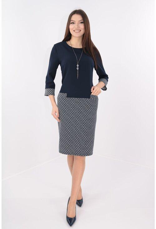 Rochie din stofa bleumarin cu print geometric