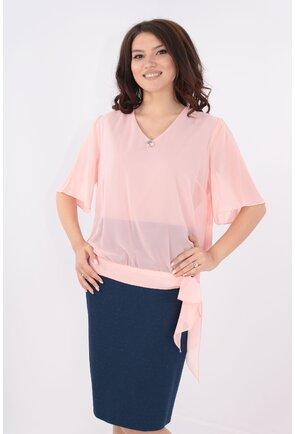 Rochie din stofa bleumarin si voal roz