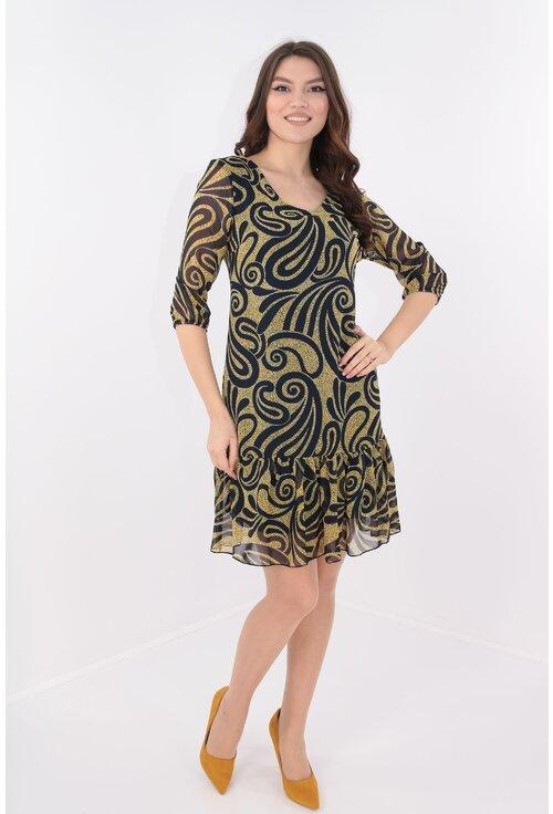 Rochie din voal cu print abstract bleumarin-galben