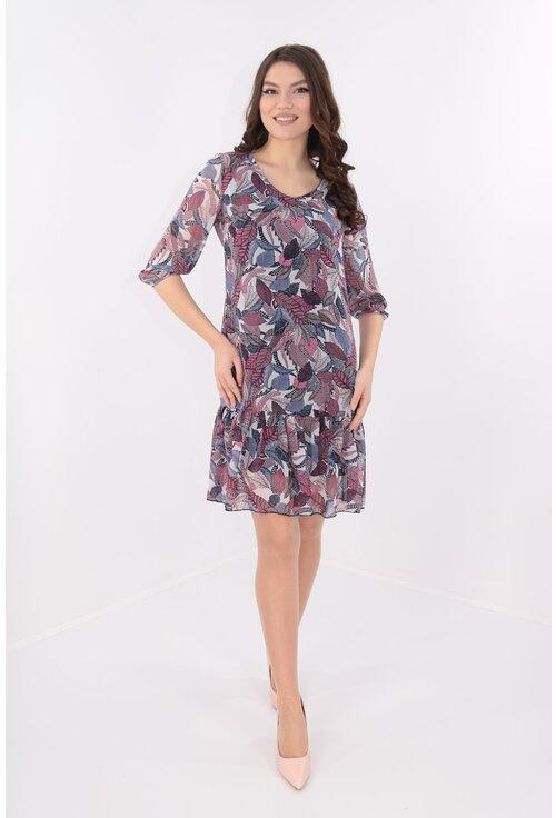 Rochie din voal cu print cu frunze lila-roz